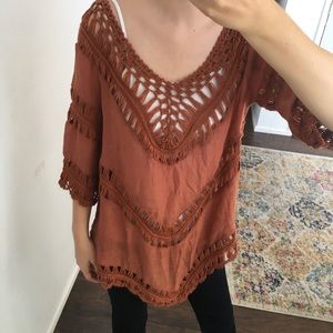 Dreamers - boho rust orange crochet tunic top